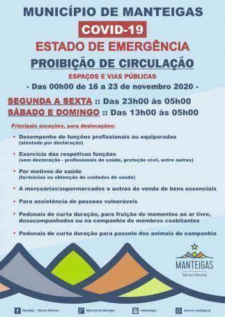 Estado de Emergência – Proibição de Circulação – Das 00h00 de 16 a 23 de novembro 2020