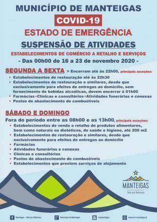 Estado de Emergência – Suspensão de Atividades – Das 00h00 de 16 a 23 de novembro 2020